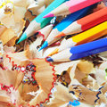 The sharpen color pencils on shavings Stock Photo