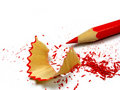 Sharpened pencil and wood shavings Royalty Free Stock Photo