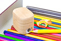 Sharpener and crayons. Stock Photography