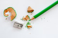 Sharpener and green wooden pencil Royalty Free Stock Photo