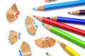Sharpening colored pencils Royalty Free Stock Photo