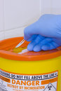 Sharps container scalpel disposal Royalty Free Stock Photography