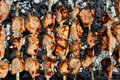 Shashlik cooking barbecue grill close up Royalty Free Stock Photography