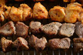 Shashlik on grill Royalty Free Stock Image