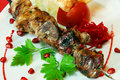 Shashlik  on plate Royalty Free Stock Photo