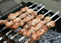 Shashlik pork on brazier cooking Royalty Free Stock Photography