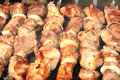 Shashlik on spit yummy barbecue summer day Royalty Free Stock Image