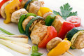 Shashlik with vegetable Stock Photos