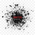 Shatter and destruction effect. Abstract cloud of pieces and fragments after explosion. Vector illustration isolated Royalty Free Stock Photo