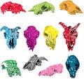 Shattered Abstract Animal Skull Vectors Royalty Free Stock Photo