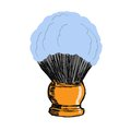 Shaving brush hand drawn sketch cartoon illustration of Stock Photos