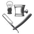 Shaving mug, brush and razor