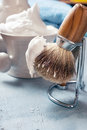 Shaving tools on wooden table a Royalty Free Stock Photo