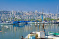 Shavit anchorage haifa israel july yacht at the part of the kishon port and the city of in the background israel Stock Image