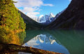 Shavlinskoe lake altai the view from the bottom of a in the mountains Royalty Free Stock Photos
