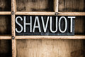 Shavuot Concept Metal Letterpress Word in Drawer Royalty Free Stock Photo