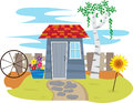 Shed with fence a cute garden a in the back eps Stock Photography