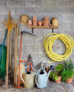 Shed garden a with all the tools of the gardener Royalty Free Stock Image