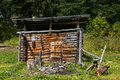 Shed of herdsman in the Altai mountains, Russia Royalty Free Stock Photo