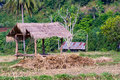 Shed old in a field near the mountains of thailand Royalty Free Stock Photos