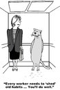 Shed old habits business cartoon showing businesswoman saying to cat who is shedding every worker needs to you ll do well Royalty Free Stock Photos