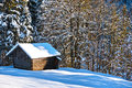 Shed in snowy forest a wooden a richly snow covered winter landscape bavaria germany Stock Images
