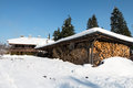 Shed for storing firewood snow Royalty Free Stock Image