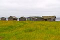 Sheds to keeping a boat group of in karelian village on the bank of white sea baltic canal Stock Photography
