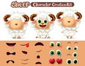 Sheep animal characters creation vector set. Sheep or lamb editable kit animal create eyes and mouth kit. Royalty Free Stock Photo