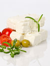 Sheep cheese in selective sharpness fotografed with olives and tomatoes Royalty Free Stock Images