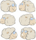 Sheep clouds cartoon the complete set of white fluffy of lambs Stock Photo