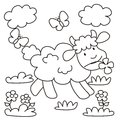 Sheep coloring for kids lamb on the meadow Royalty Free Stock Image