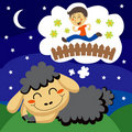Sheep counting Children Royalty Free Stock Photos