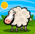 Sheep farm animal cartoon illustration of cute livestock on the Stock Photo