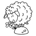 Sheep with a flower. Isolated objects on white background. Vector illustration. Coloring pages. Black and white illustration.