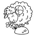 Sheep with a flower. Isolated objects on white background. Vector illustration. Coloring pages. Black and white illustration. Royalty Free Stock Photo