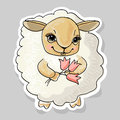 Sheep and a flower vector illustration Royalty Free Stock Images