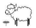 Sheep funny illustration of the and flower Stock Photos