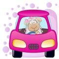 Sheep Girl In A Car