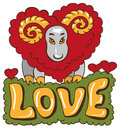 Sheep from heart illustration of a with a red on the word love Stock Image