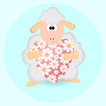 Sheep with heart vector background Stock Photos