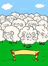 Sheep herd cartoon jump over the barrier illustration Stock Photo