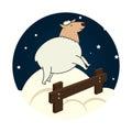 Sheep jump sleep icon