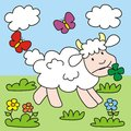 Sheep lamb and butterflies in the meadow picture for children Stock Photography