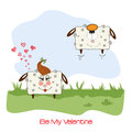 Sheep lovers, comic illustration for Valentine's day or wedding Royalty Free Stock Photography
