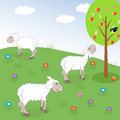 Sheep meadow vector illustration Stock Images