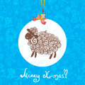 Sheep pattern vector background christmas card with the new year holiday ball Royalty Free Stock Images