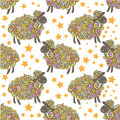 Sheep pattern vector background curly fluffy on the field Royalty Free Stock Image