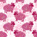 Sheep pattern vector background curly fluffy on the field Stock Image