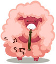 Sheep playing flute Stock Photo
